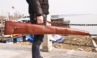 Hunting Genuine Leather Rifle Slip Padded Shooting Gun Protection Bag Carrying Case Carrier Gun Accessories 128CM