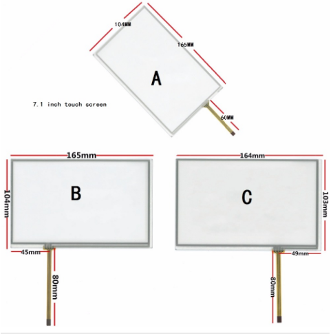 7.1 Inch Touch Screen For AT070TN83 V.1 AT070TN82 AT070TN84 Touch Digitizer Panel Glass 164*103 165*104