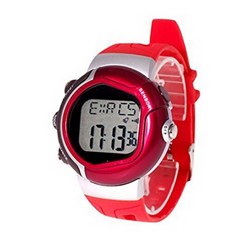 1pc New Arrival Red Plastic Band Stopwatch Alarm Watch Heart Pulse Rate Monitor