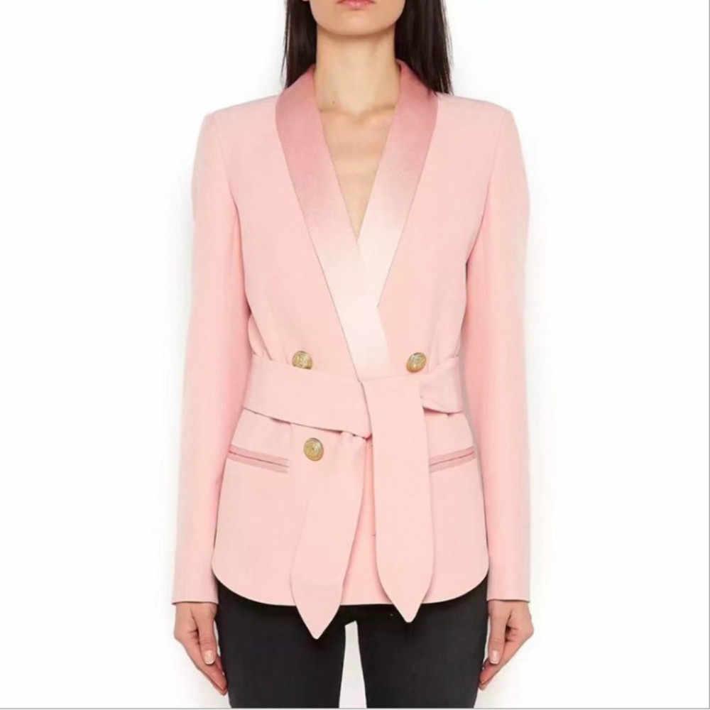 新しい女性のブレザーオフィス摩耗2018秋デザイナーボタンベルト女性コート高品質サーコートソリッドピンクホワイトブラックラップ