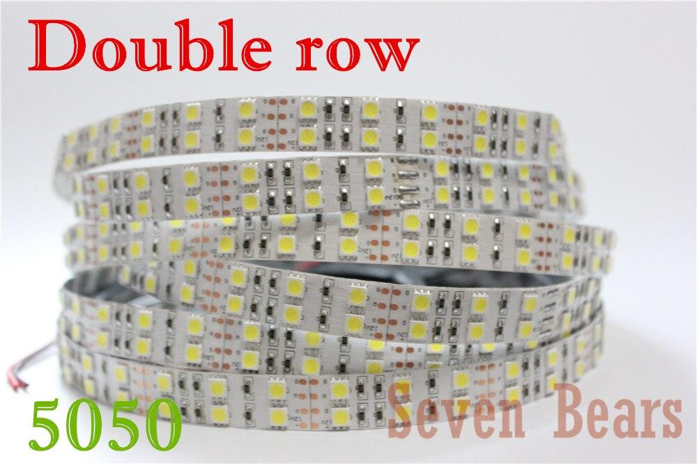 DC12v 120leds/m RGB led strip 5050 5m/reel double row warm white/white/RGB led tape light Non waterproof