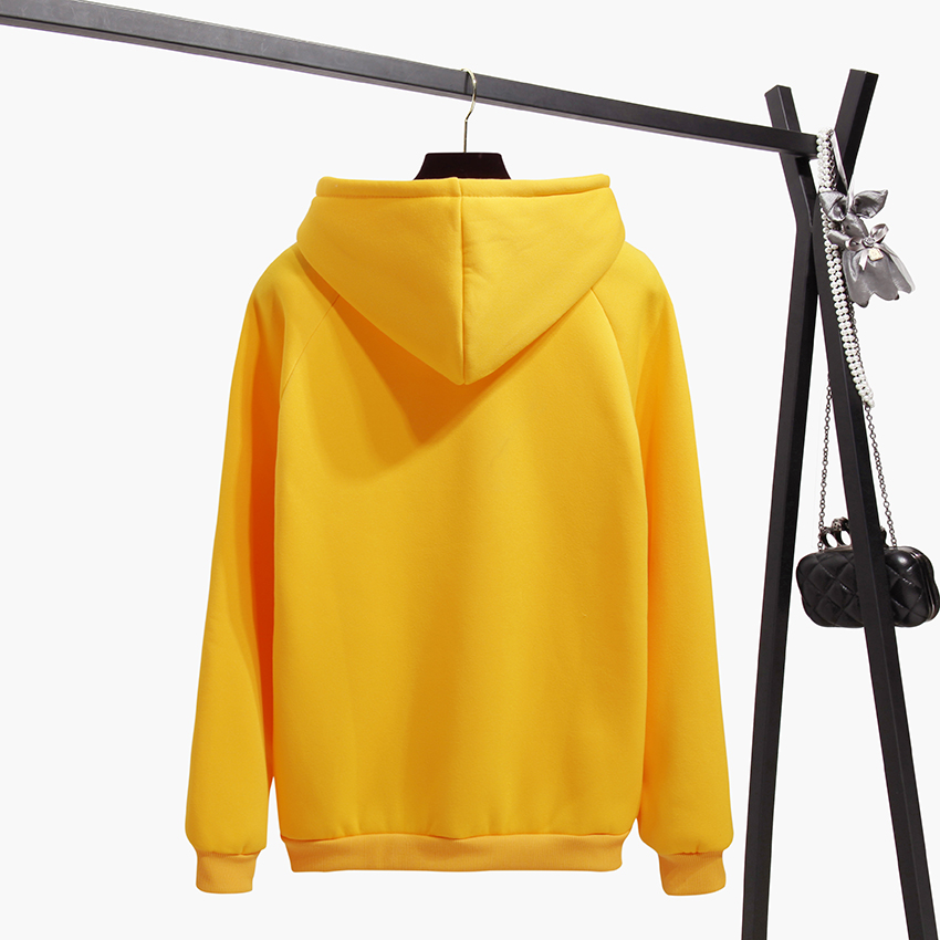 OH YES New Fashion Corduroy Long sleeves Letter Harajuku Print Light pink Pullovers Tops O-neck Women's Hooded sweatshirt tops 7
