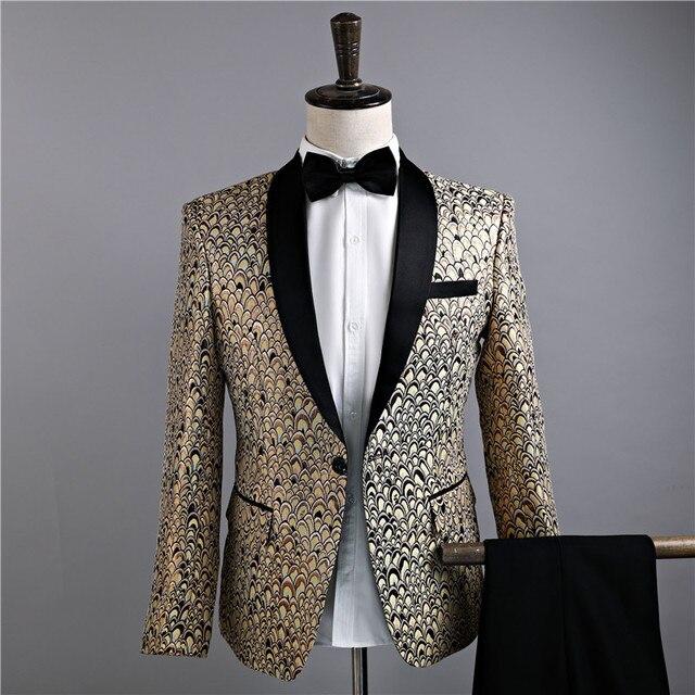 Gold Men Prom Suits Tuxedo Suits Jackets Golden Mens Vestido De ...