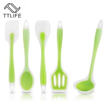 TTLIFE 5 adet/takım Silikon mutfak pişirme aletleri Seti Isıya Dayanıklı Pişirme Aracı Dahil Kaşık çorba kepçesi Turner Spatula Yeşil