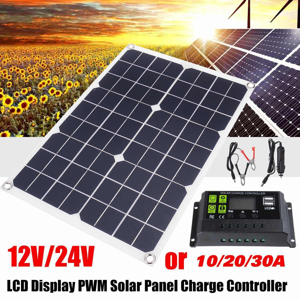 50W 12V/24V Solar Panel 2 USB Power Bank Board External Battery Charging Solar Cell Crocodile Clips Car charger Solar Controller