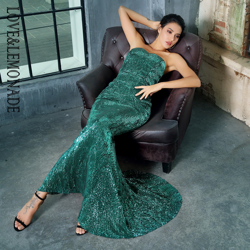Love Lemonade Green Tube Top Slim Elastic Sequin Long dress LM1380