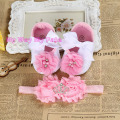 Christening baptism newborn baby girl shoes headband set,toddler booties baby ballerina,little girl baby walker