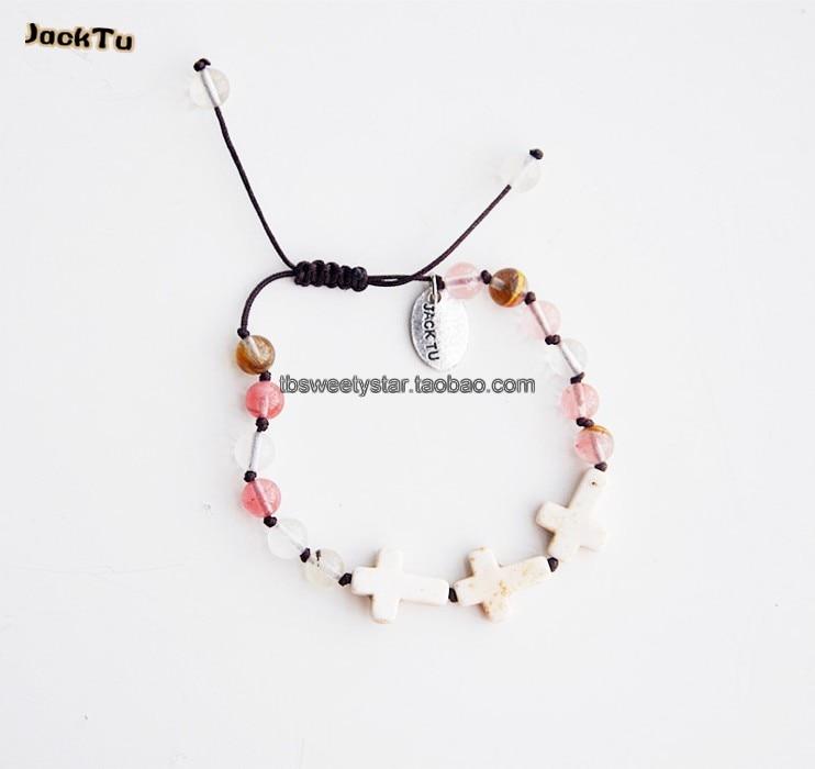 ⑥2017 rose perles de mélange blanc vert perles croix bracelet d ... 43ee41aec552