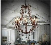 Nordic Rustikalen Luxus Vintage Kristall Kronleuchter Loft E14 LED Pendelleuchte Hänge Leuchte Für Esszimmer Hause Dekorationen-in Kronleuchter aus Licht & Beleuchtung bei