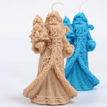 3D Santa vela molde de silicona DIY hecho a mano jabón molde artesanía arcilla de resina herramienta de decoración de Navidad