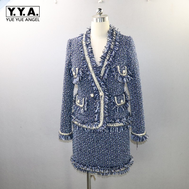 High Quality Brand Women Set Fashion Tweed Tassel Jacket A Line Skirt Two Piece Outfits Business Office Lady Skirt Set XS XL