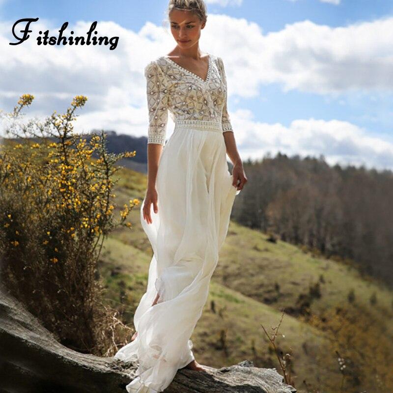 Fitshinling Bohemian Lace Chiffon Splice Long Dress Holiday Beach Wear 2018 Hollow Out Sexy Hot Maxi Dresses For Women Pareos