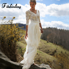 Fitshinling Bohemian lace chiffon splice long dress holiday beach wear 2018 hollow out sexy hot maxi dresses for women pareos