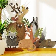 Лес Животные Лось лиса кролик наклейки на стену для детской комнаты Детская Наклейка на стену детская спальня декор плакат на стену искусство
