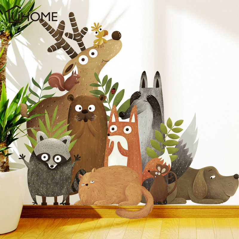Forest Animals Elk Fox Rabbit Wall Stickers for Kids Room Children Wall Decal Nursery Bedroom Decor Poster Mural Art