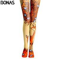 BONAS Elk Print Tights Pantyhose Female Spring Cotton Legins Meias Fashion Autumn Cartoon Sun Pantyhose Seamless