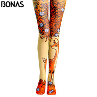BONAS Elk Print Tights Pantyhose Female Spring Cotton Legins Meias Fashion Autumn Cartoon Sun Pantyhose Seamless