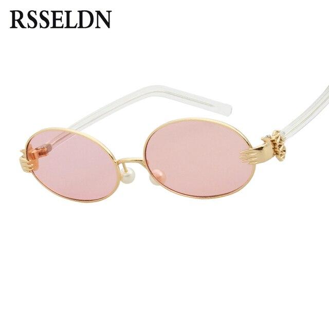 RSSELDN Dames De Mode Petit Ovale lunettes de Soleil Femmes Marque Design  Clair Bleu Jaune Orange 5b8b8e4a0977