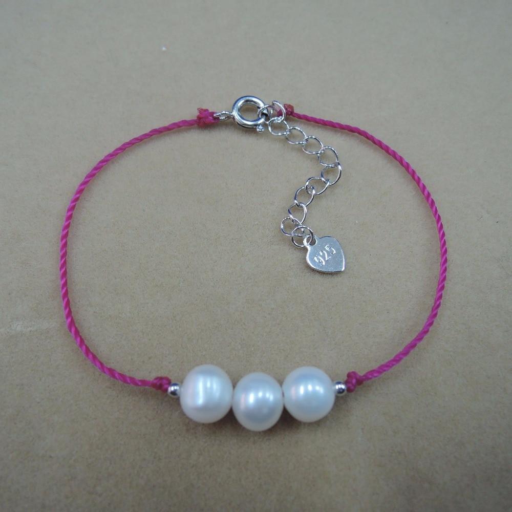 100% NATURE FRESHWATER PEARL Bracelet-AAAAA high good quality-3 pcs bracelets,rope bracelet ,egg shape pearl