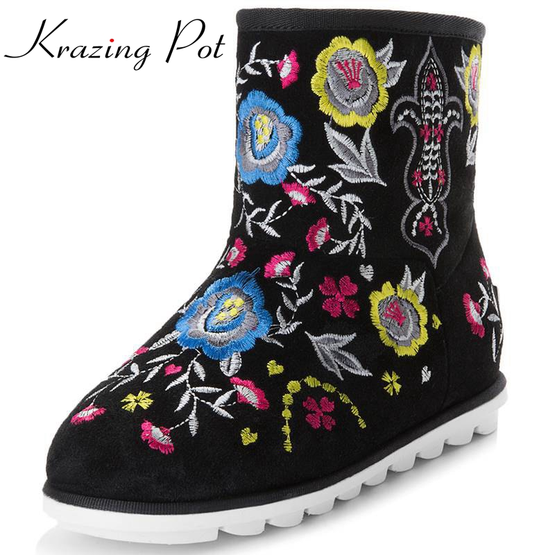 Fashion winter embroidery printing flowers women snow mid-calf boots high quality preppy style beauty boots luxury cozy shoe L27 double buckle cross straps mid calf boots