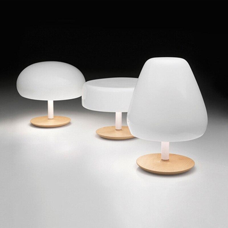 brief fashion log Aspen aluminum wood table lamp dawdle head mashroom led e14 desk lamp for living room bed room 2009