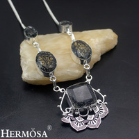 Graceful Christmas Gift Black Lace Rutilated Quartz 925 Sterling Silver Choker Necklace For Women Party Handmade