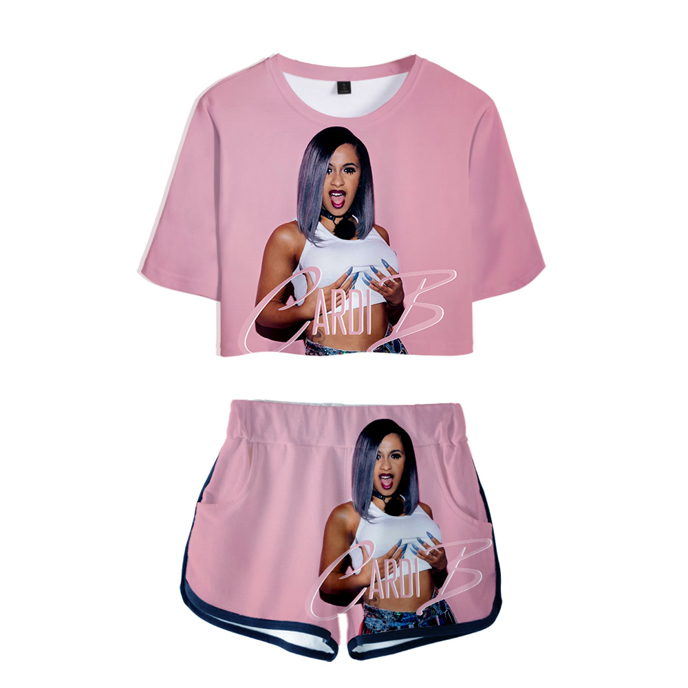 Pink Outfit Short-Set Summer Tops Sexy Sweatsuit Ensemble Two-Piece Cardi B Femme Women