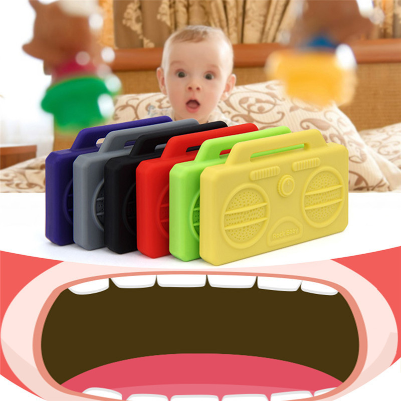bpa Free Teether Mother And Baby Products Smart Baby Teether Mini Simulation Speaker Shape Baby Dental Care Toys Safe Silicone