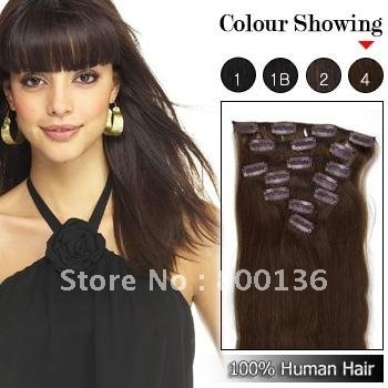 18inch 20inch 22inch  Human Hair  Clip hair  Extensions straight  #4  brown  wholesale price