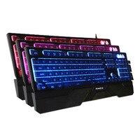 104 مفاتيح 1.5 متر usb السلكية الميكانيكية اليد يشعر المفاتيح ثلاثي اللون الخلفية تعليق كيكابس لعبة المفاتيح للانفصال المعصم دعم