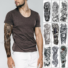 Large Arm Sleeve Tattoo Sketch Lion Tiger Waterproof Temporary Sticker Wild Fierce Animal Men Full Bird Totem