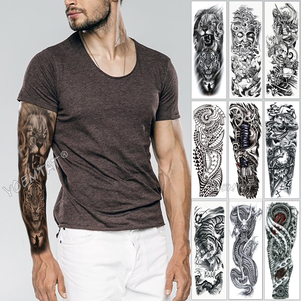 Large Arm Sleeve Tattoo Sketch Lion Tiger Waterproof Temporary Tattoo Sticker Wild Fierce Animal Men Full Bird Totem Tattoo image