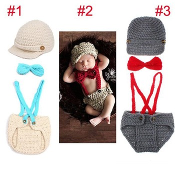 Newborn Photography Props Knitted Baby Hat with Suspenders Bow Tie Set baby Boy girl 1set H194