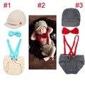 Poco Traje Gentleman Bebé de Punto Beanie Sombrero con Tirantes Pajarita Set Bebe Niño Recién Nacido Fotografía Atrezzo Sombrero 1 Unidades H194