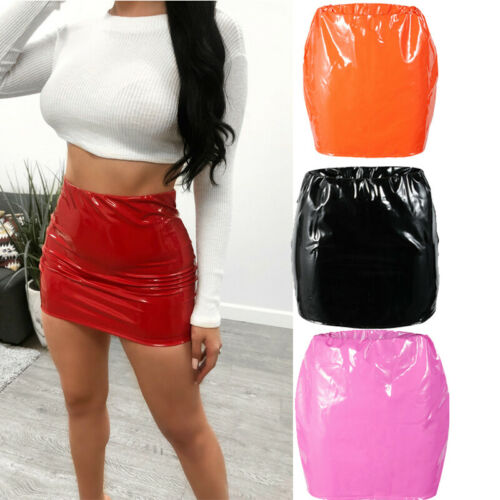 Women PU Leather Skirts Red Pink Orange High Waist Slim Pencil Skirts Vintage Bodycon Mini Skirts Sexy Clubwear Wholesale
