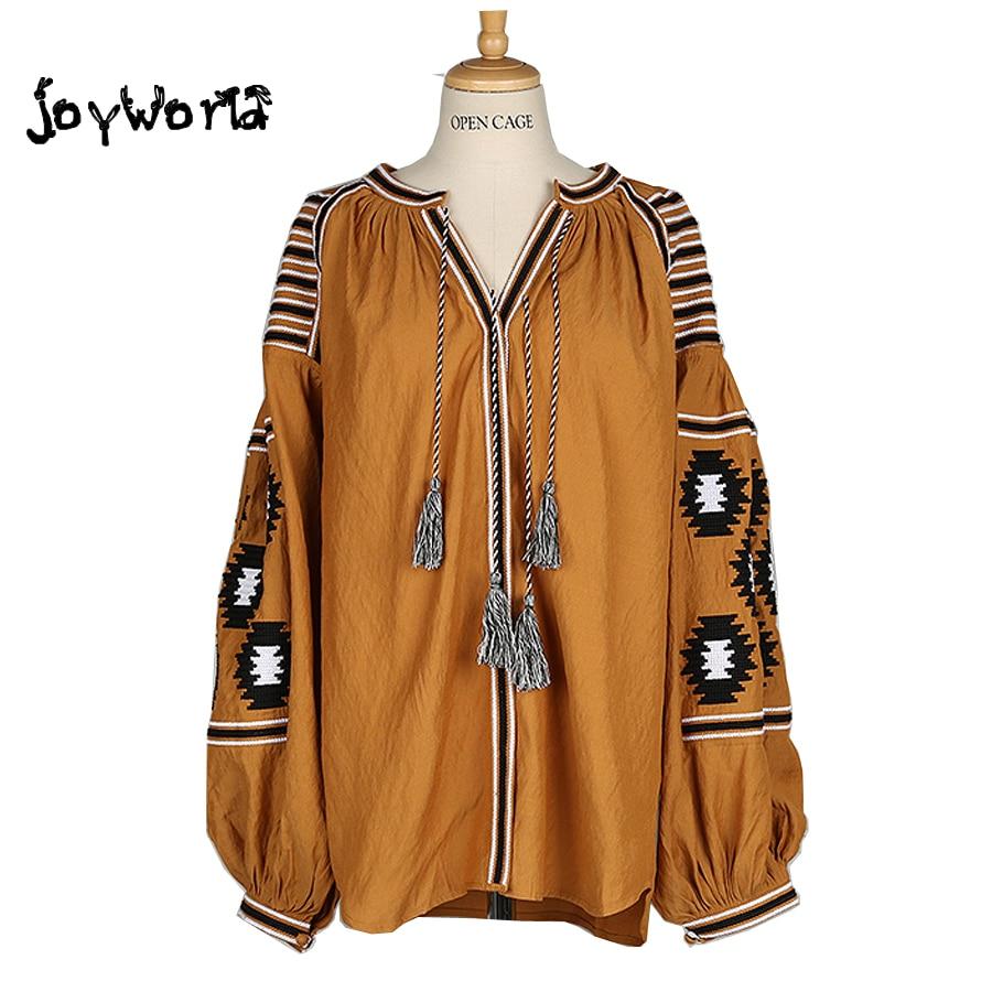 YACKALASI Bomemian Women Blouses Office Tops Elegant Vestido Boho People Embroidered Lantern Sleeve Tassel Loose Shirt