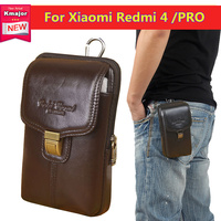 Cell Phone Bag Case For Xiaomi Redmi 4 Genuine Leather Belt Clip Zipper Pouch Wallet Cover