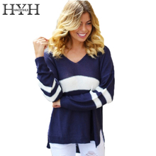 HYH HAOYIHUI Color Block Basic Women Sweater V-neck Long Sleeve Pullover Elegant Street Style Ladies Autumn Jumper