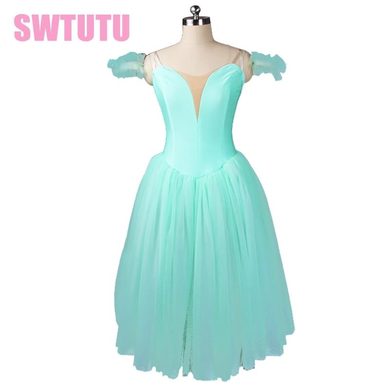 Adult Light green fairy ballet tutu dress girls professional white romantic ballet tutu dress performance ballet costumesBT9128b