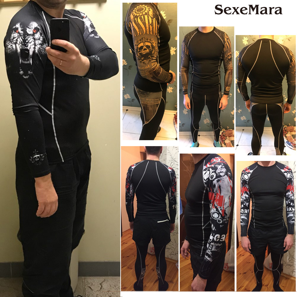2019 Mma Rashgard Long Sleeve Fitness Set Tights Men's Compression Elasticity Quick Dry Breath T-Shirt Tactical Men's sportswear