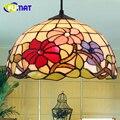 Подвесной светильник FUMAT Tiffany в стиле ретро  подвесной светильник из витражного стекла для гостиной  спальни  прикроватный LED E27  12 дюймов  люс...