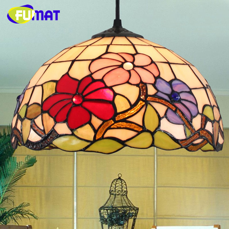FUMAT Tiffany Pendant Lamps Balcony Retro Stained Glass Hanglamp Living Room Bedroom Bedside LED E27 12 Inch Chandelier Lights