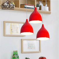 Modern Ceiling Lamp Vintage Bar Pendant Lights Loft Wrought Aluminum Industrial Red Metal Kitchen Island Lighting