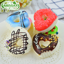 Artificial cake heart donut food model photography props kitchen cabinet dessert decoration mug-up