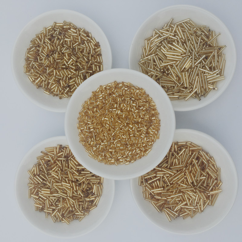 20g/Lot Multi Sizes Golden Czech <font><b>Glass</b></font> Seedbeads Spacer Tube Bugles <font><b>beads</b></font> For Jewelry Making Embroidery DIY Sewing Accessories image