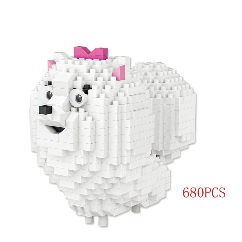 680pcs Funny Lovely Pets Dog Secret Life Movie Mini Building Block Max Mel Gidget Block Bricks Educational Toys For Kid