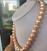 18 SOUTH SEA 12 14MM GOLD PINK PEARL NECKLACE 14K