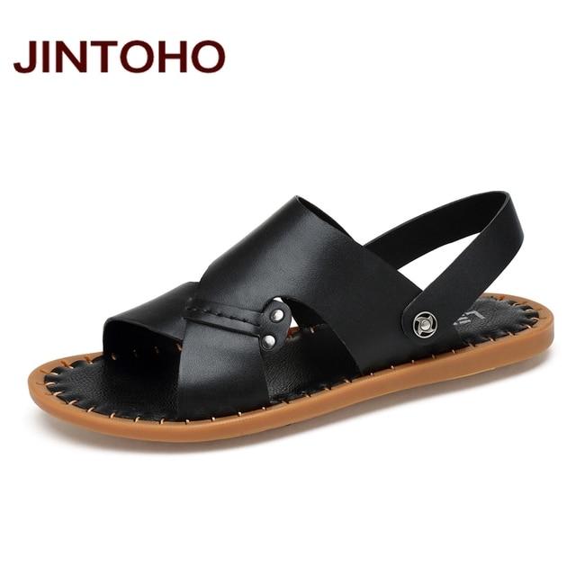JINTOHO 100% Genuine Leather Men Sandals Fashion Black Male Beach Sandals  Summer Leather Sandals Men