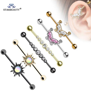 1Pc 1.6*36mm Summer Style Butterfly Surgical Steell Industrial Barbell Bar Ear Ring Body Piercing Jewellery 14Gauge 36mm