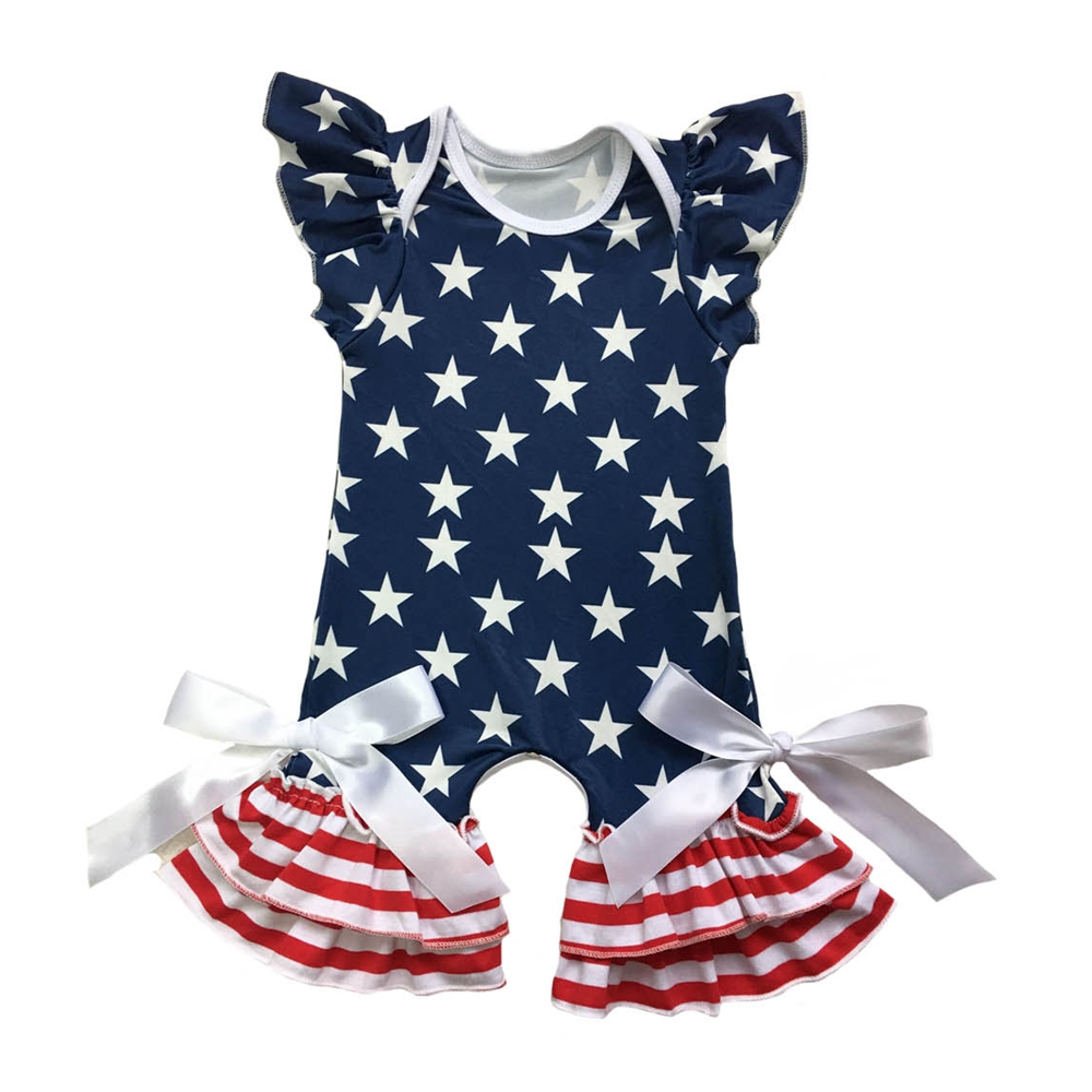 Baby Girls 4th of July Outfits Ruffled Lace Romper American Flag Striped Bodysuit Jumpsuit with Headband Set